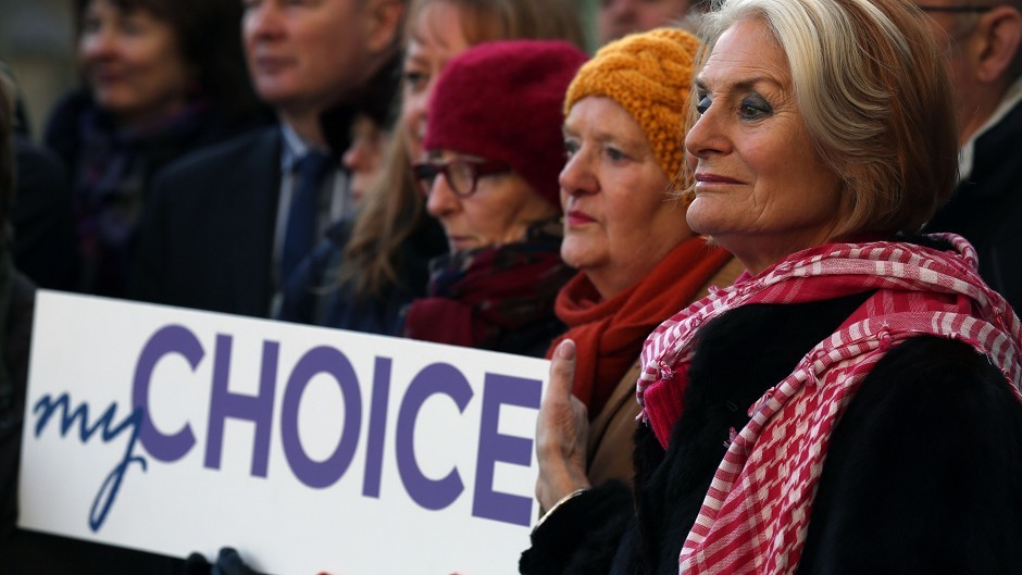 Campaigners supporting the Assisted Suicide Scotland Bill during a rally outside the Scottish Parliament in Edinburgh
