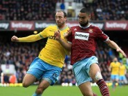 Alan Pardew was all praise for Glenn Murray, pictured left, who enjoyed an eventful game for Crystal Palace