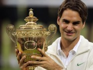 Roger Federer, pictured, has won seven titles at Wimbledon, Halle and Dubai