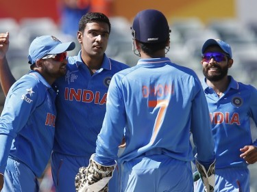 Ravichandran Ashwin, second left, celebrates one of his four wickets in India's comprehensive win (AP)