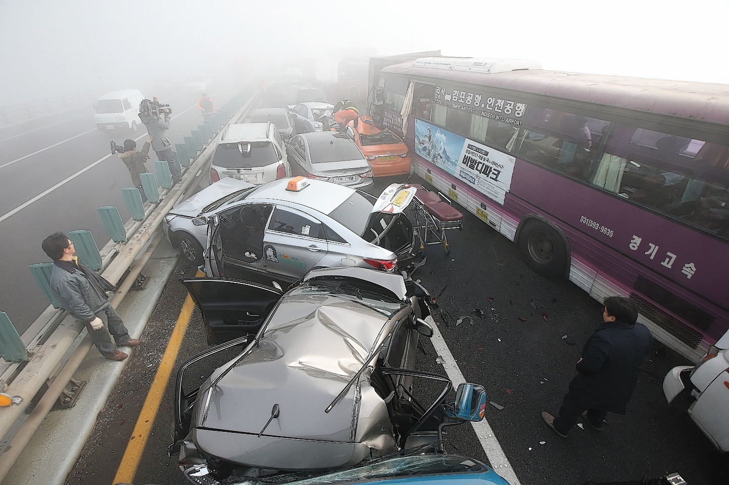 South Korea traffic pile-up
