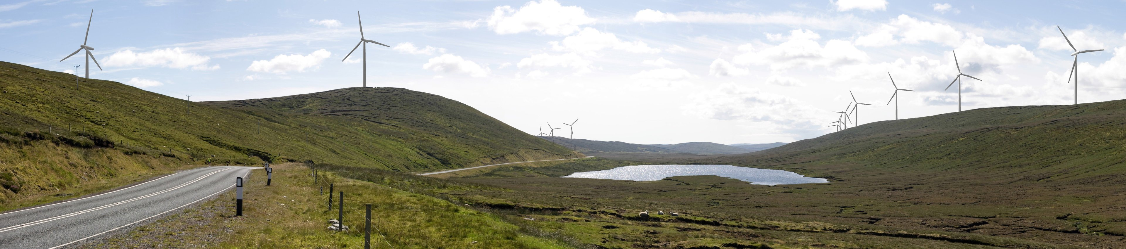 A montage of what the Viking Windfarm will look like from the north end of the Kames