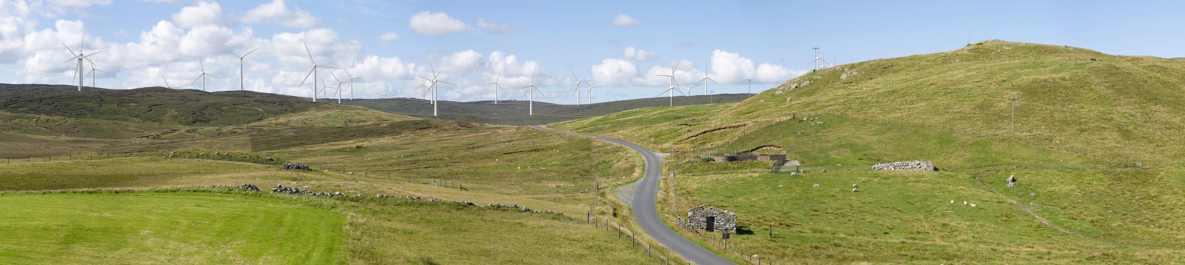 A montage of the Viking windfarm from Billister and  Laxfirth road, North Nesting