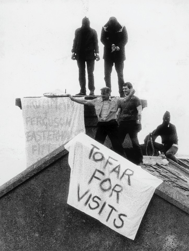Peterhead Prison siege in 1987 which saw prison office Jackie Stewart paraded on the roof and held hostage by prisoners