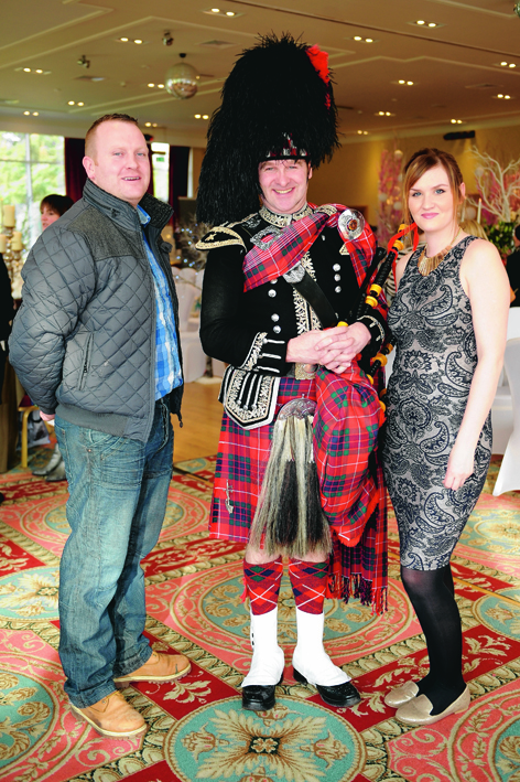 Liam Simpson, Piper 'Spud' Callum Fraser and bride-to-be Louise Stewart