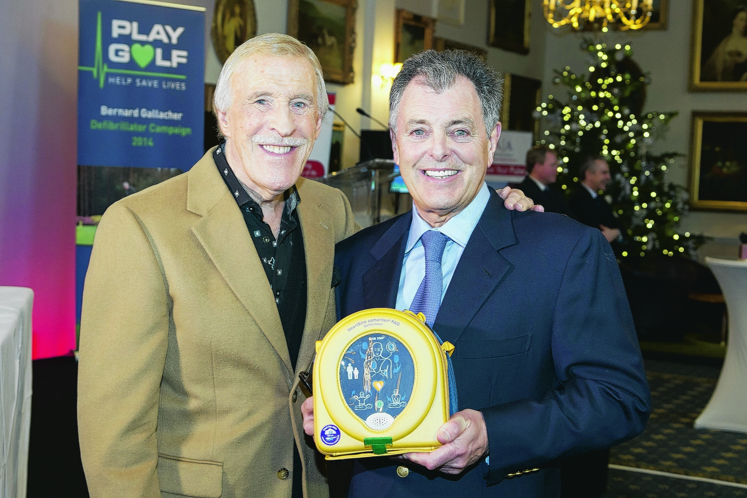 Bernard Gallacher with an AED and Bruce Forsyth