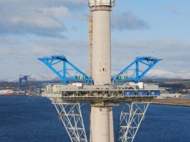 One of the Queensferry Crossing's towers, with Greenwell's blue accommodation units.