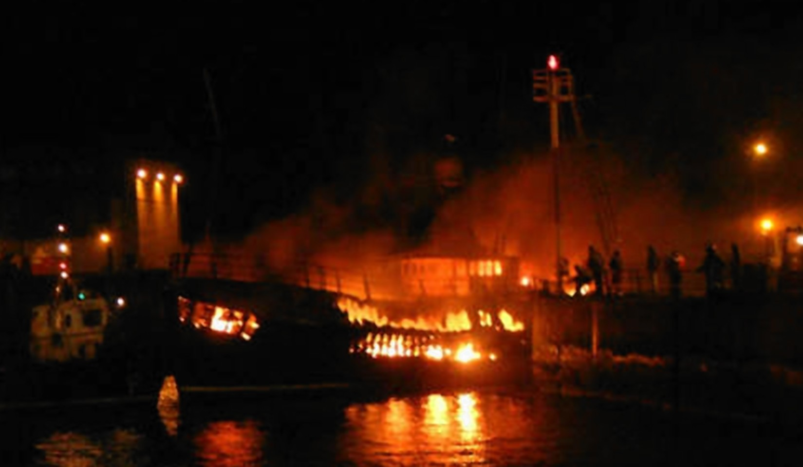 A maritime response team could soon be based in Peterhead. Pictured: A fire on a north-east boat several years ago.