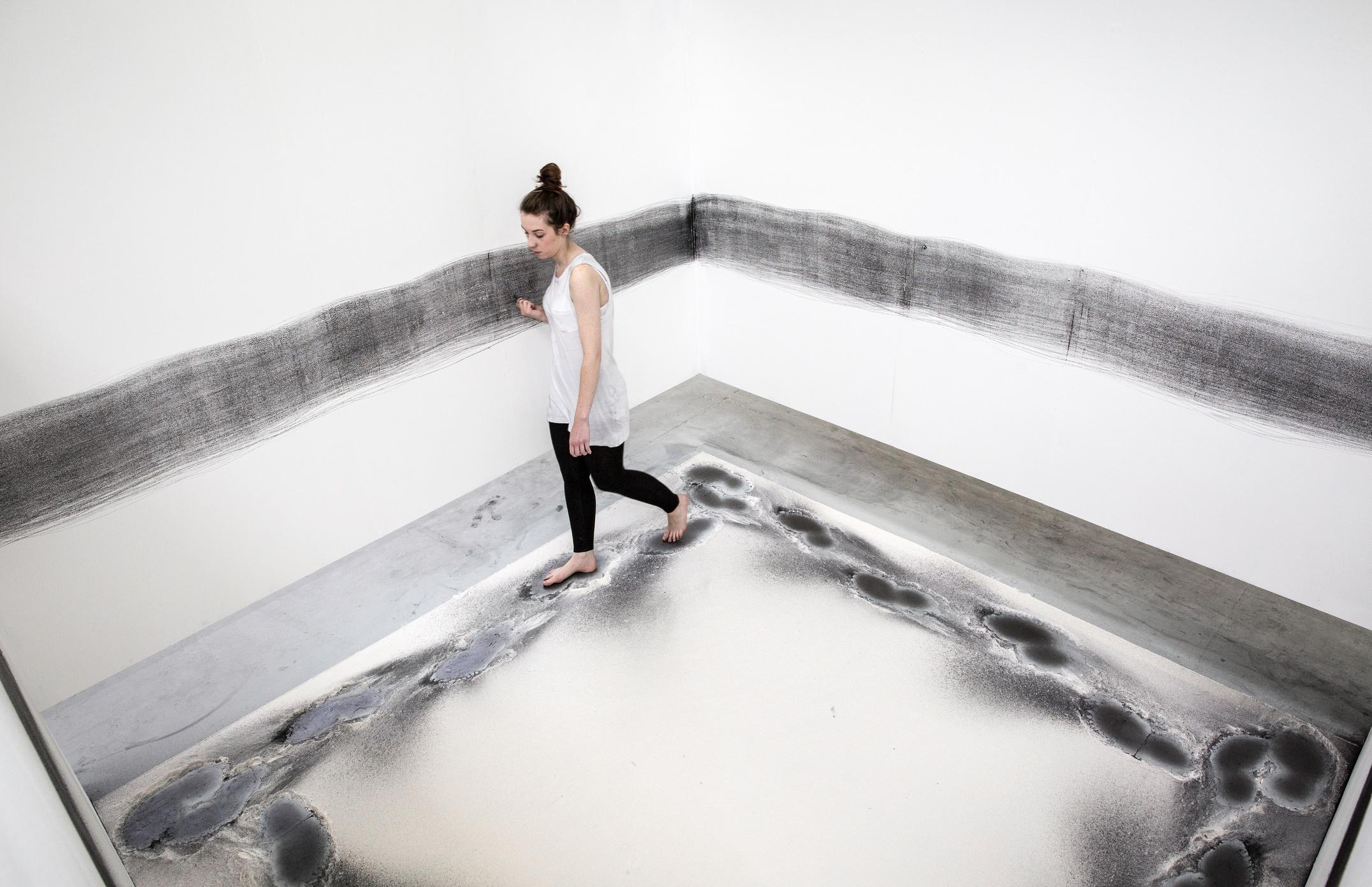 Kirstin Clark with her artwork