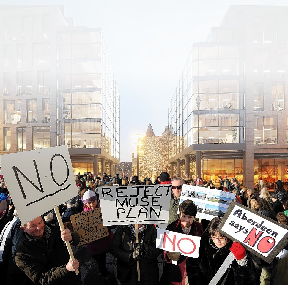 Protestors  have repeatedly raised concerns over plans for Marischal Square