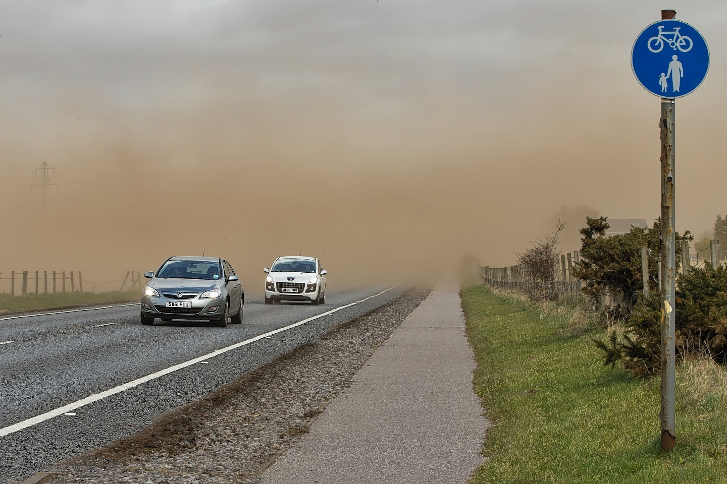 This is the A96 Forres to Elgin main trunk road approximately half a mile east of Forres