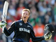 Martin Guptill celebrates his double century for New Zealand, who comfortably beat West Indies (AP)
