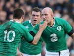 Ireland's Paul O'Connell, right, and Johnny Sexton celebrate during the win over England