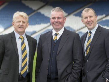 Brian McClair is relishing working with Scotland boss Gordon Strachan, left, and Stewart Regan, right