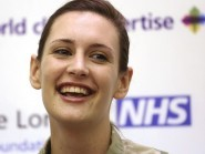 Corporal Anna Cross speaks during a press conference at London's Royal Free Hospital where she has been discharged after being successfully treated for Ebola