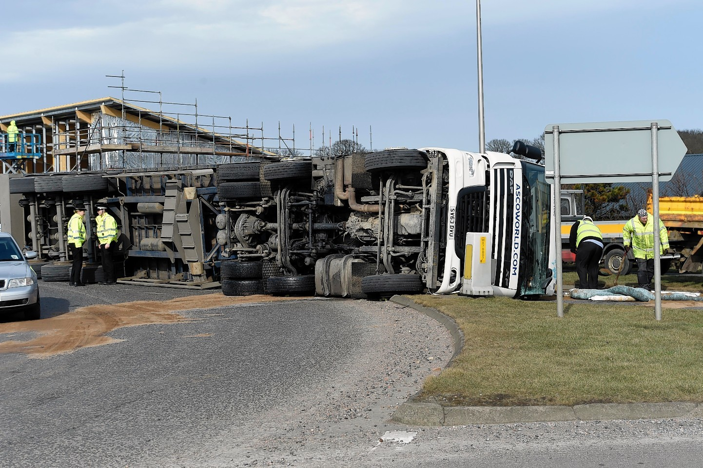 The lorry was not carrying a load when it overturned.