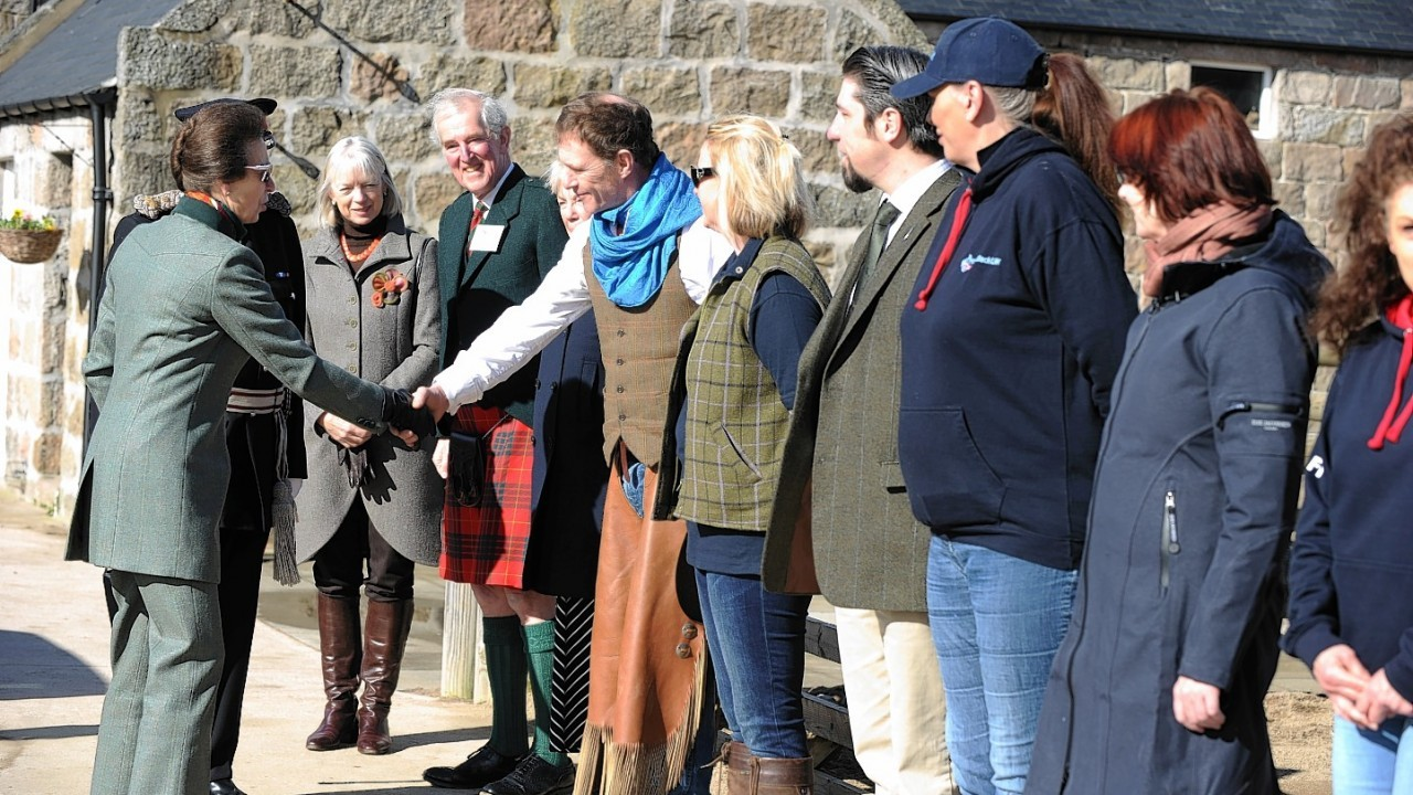 Princess Anne meets and greets the riders