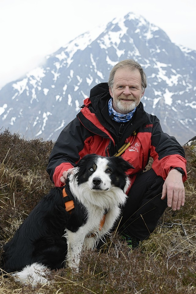 Stuart Hadden in Glencoe with the search dogs