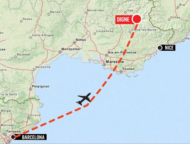 The full flight path of the doomed plane