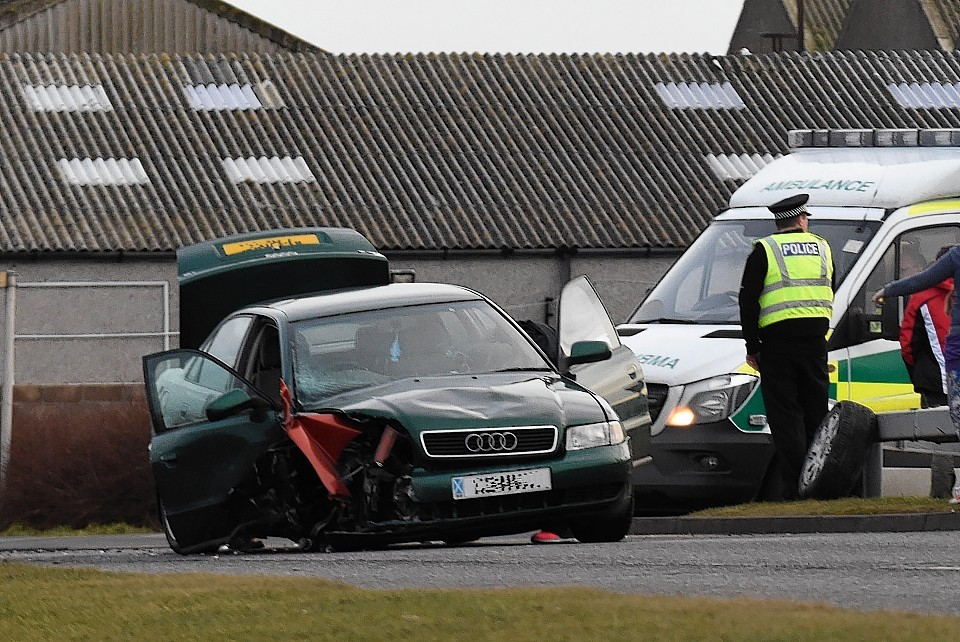 Three people suffered minor injuries in the crash