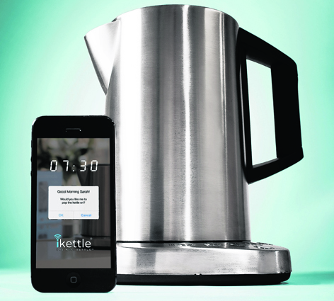 The iKettle can wake you via your smartphone telling you it's all boiled and ready to pour