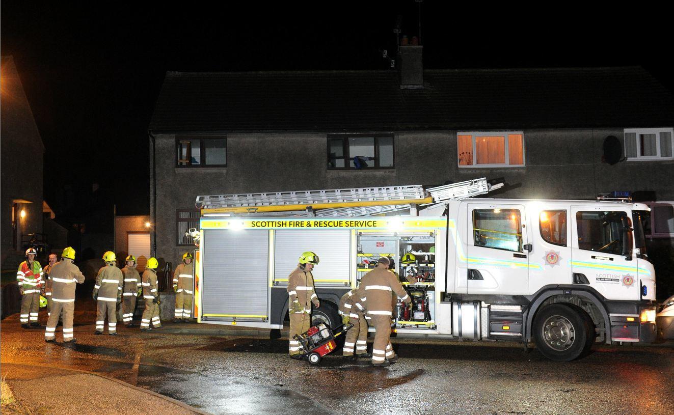 Firefighters battled a house blaze in Peterhead earlier tonight