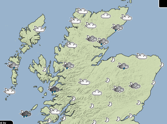 The forecast for tomorrow evening, weather information provided by the Met Office.