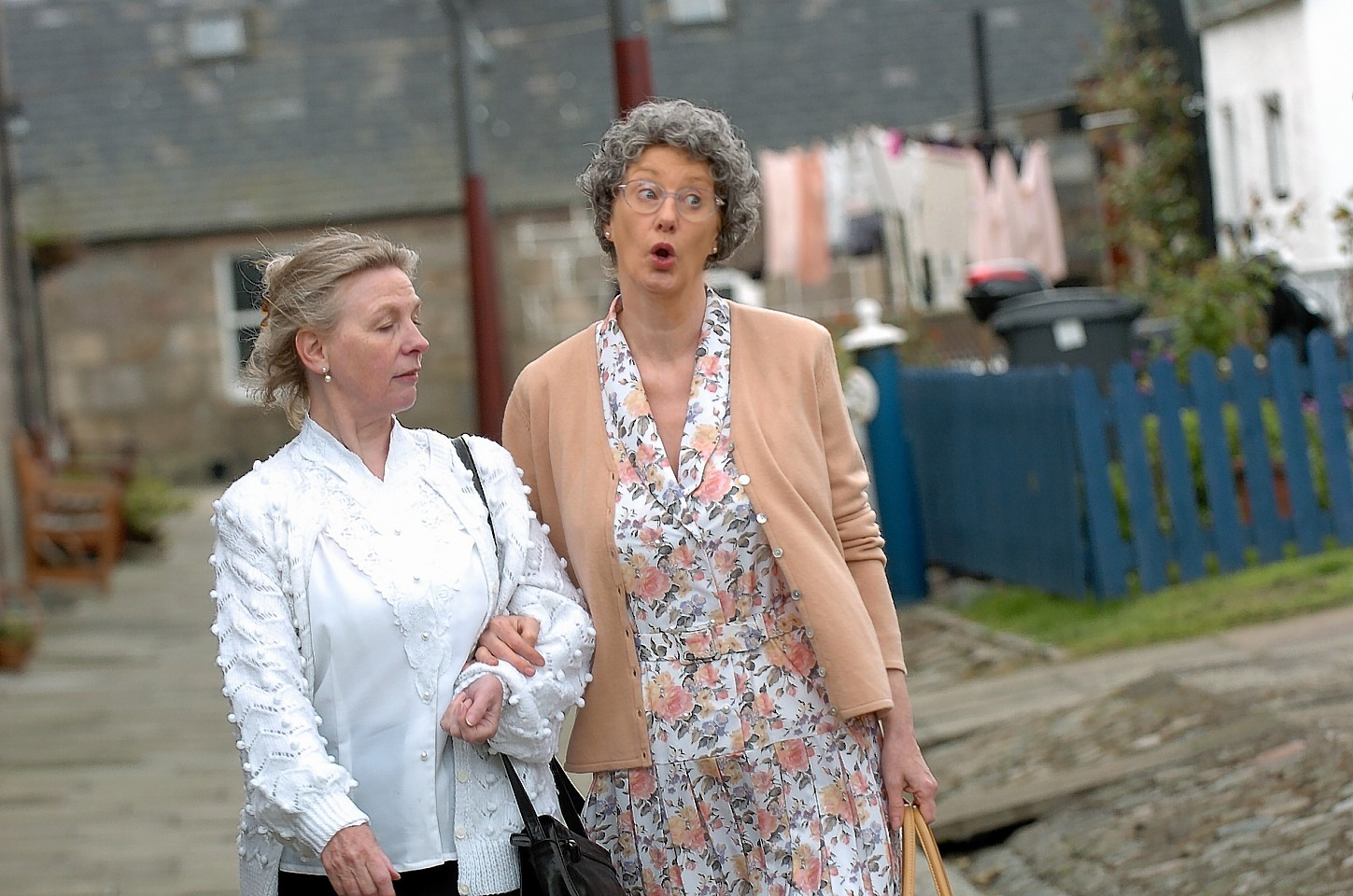 Two of the cast from the doric play 'Fooshion',  Shiela Reid (Peggy) and Yvonne Morton (Gladys). Picture by Kami Thomson