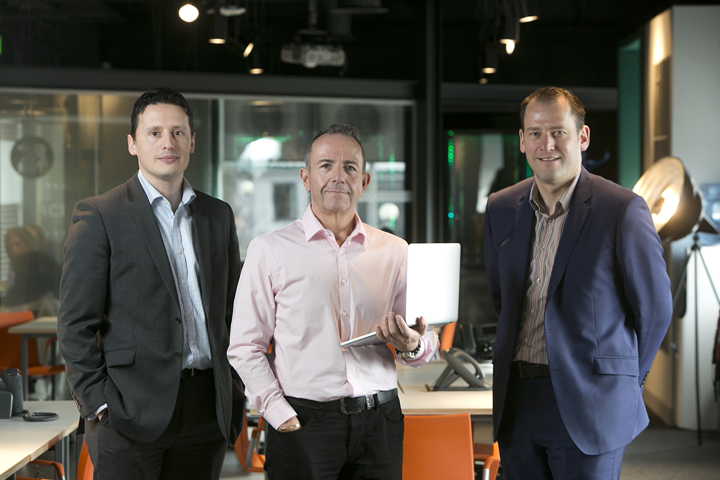 Gary McEwan (centre), chief executive of Elevator, with Stuart Winterburn (left), managing director of Dynamic Edge and Rob Hamilton (right), chief executive of Dynamic  Edge
