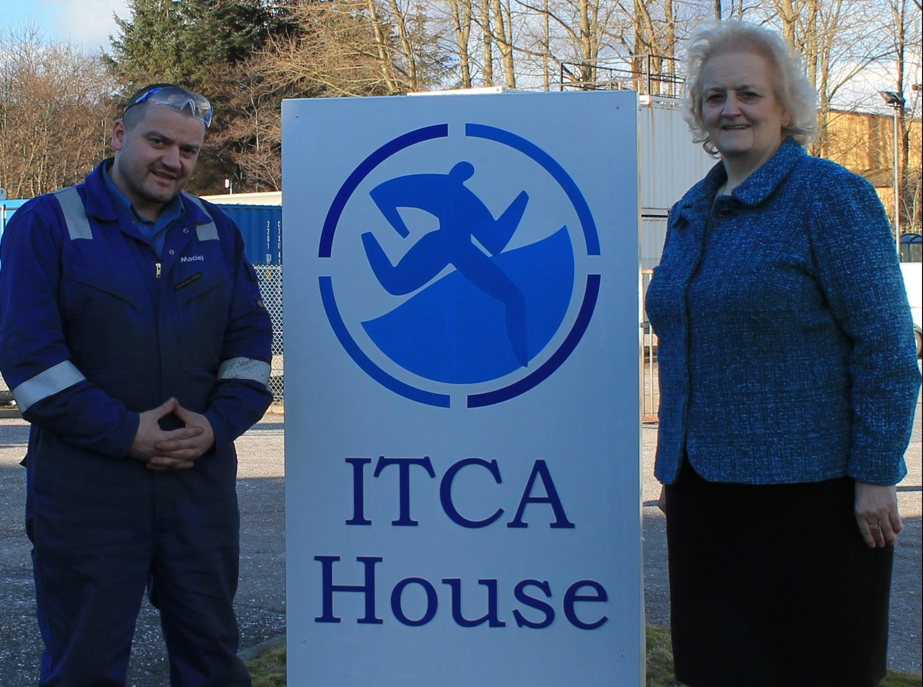 ITCA managing director, June Jones, with Mr Kokoszewski