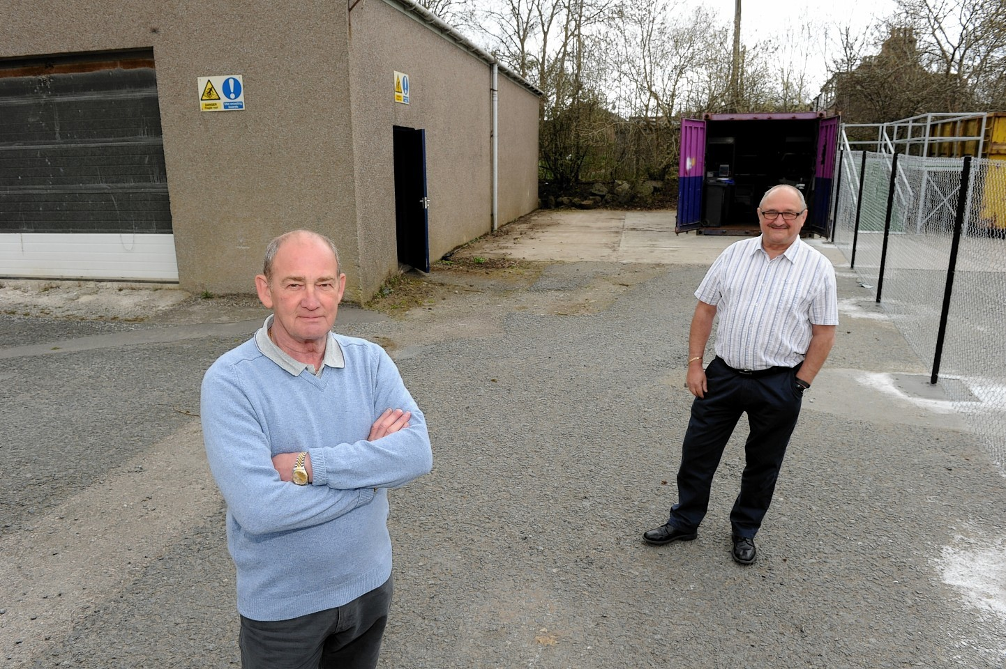 The Ellon and District Men's Shed chairman Charlie  Forrest (left) and secretary Bill Kerr. Picture by Colin Rennie.