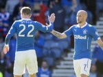 Nicky Law, right, celebrates the equaliser with Dean Shiels