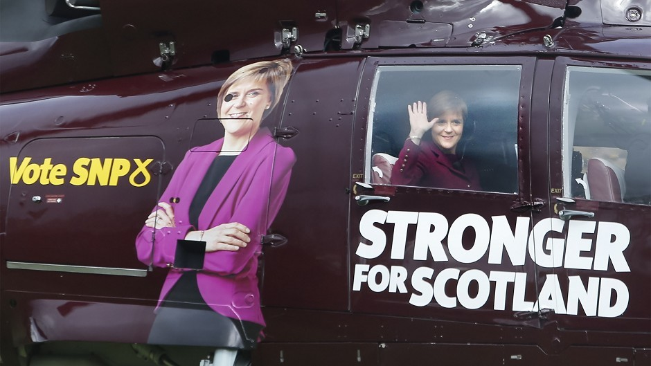 First Minister Nicola Sturgeon leaves Prestonfield House Hotel in Edinburgh in a helicopter to campaign in target constituencies over the Bank Holiday weekend.