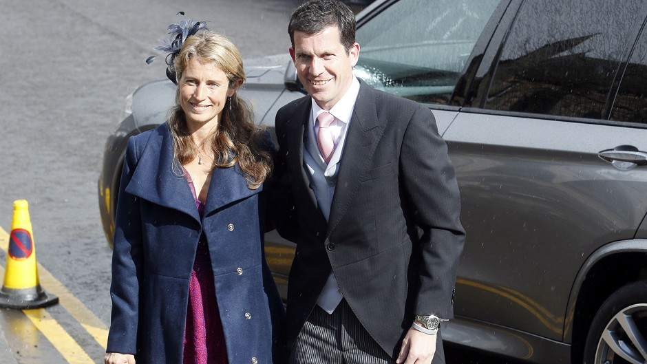 Tim and Lucy Henman arrive for the wedding of Andy Murray to his long-term girlfriend Kim Sears at Dunblane Cathedral