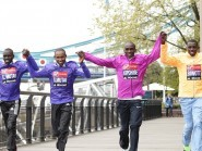 Geoffrey Mutai, pictured second fromthe left, is targeting victory in the London Marathon