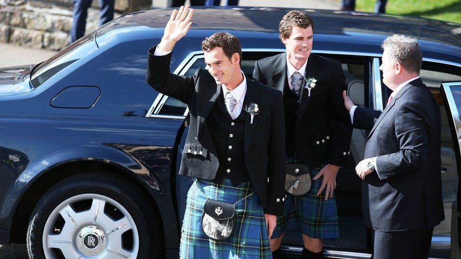 British tennis number one Andy Murray and his brother Jamie arrive at Dunblane Cathedral