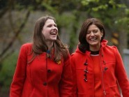 Miriam Gonzalez Durantez, right, arrives with Business Minister Jo Swinson for a visit to Scottoiler in Glasgow, where they launched a new plan aimed at improving opportunities for women