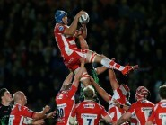 Mariano Galarza wins a lineout while in action for Gloucester