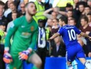 Eden Hazard, right, scored in Chelsea's win