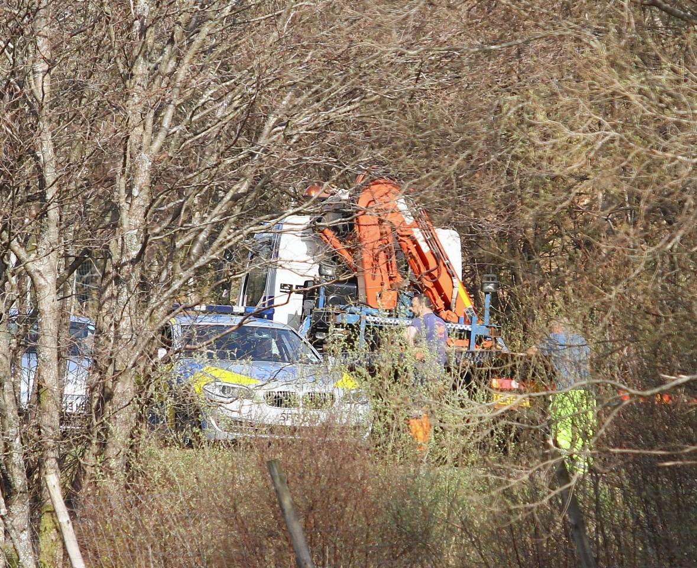 The scene of the A85 motorbike crash