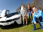 Fraser Adams, event organiser Emily Findlay and Oliver Constant enjoying fast car rides at Grampian Transport Museum in aid of the ARCHIE Foundation.