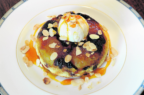 Nick Nairn's spiced apple upside-down cake with ice-cream and toasted almonds
