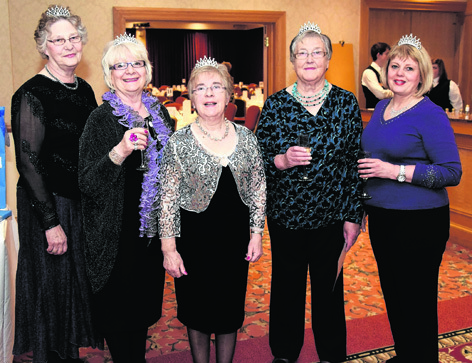 Fiona Livingstone, Rosie Simpson, Val Cantlay, Margaret Telford and Lorna Henderson at the Sparkling Showstoppers Supper