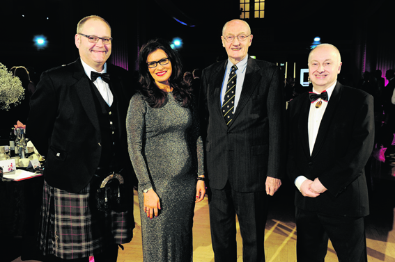 Kenny Luke, Judith Ralstone, Richard Holloway and George Adams at the annual AIYF fundraising dinner