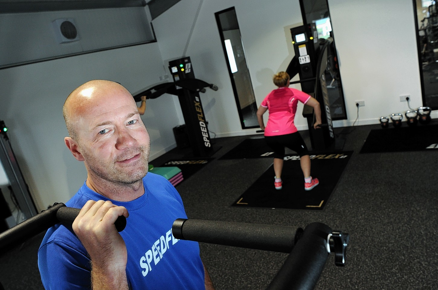 Football legend Alan Shearer at the new Speedflex Gym in Laurencekirk where to mark the opening he joined in with members on a workout session.     Picture by Kami Thomson