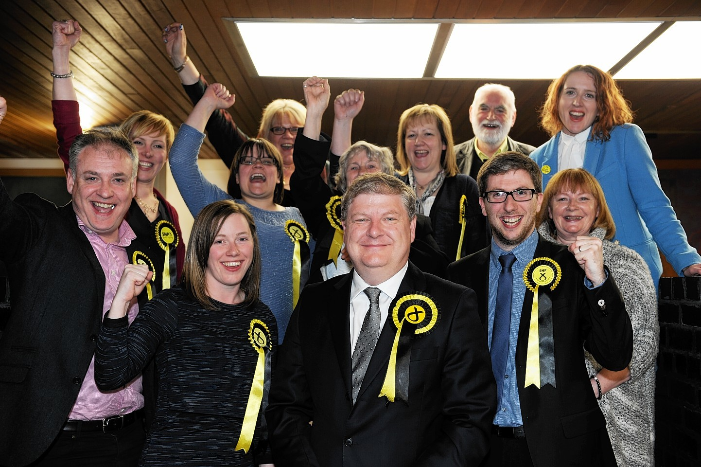 The Moray count at Elgin Town Hall. Angus Robertson who retained his seat with his supporters. Picture by Gordon Lennox