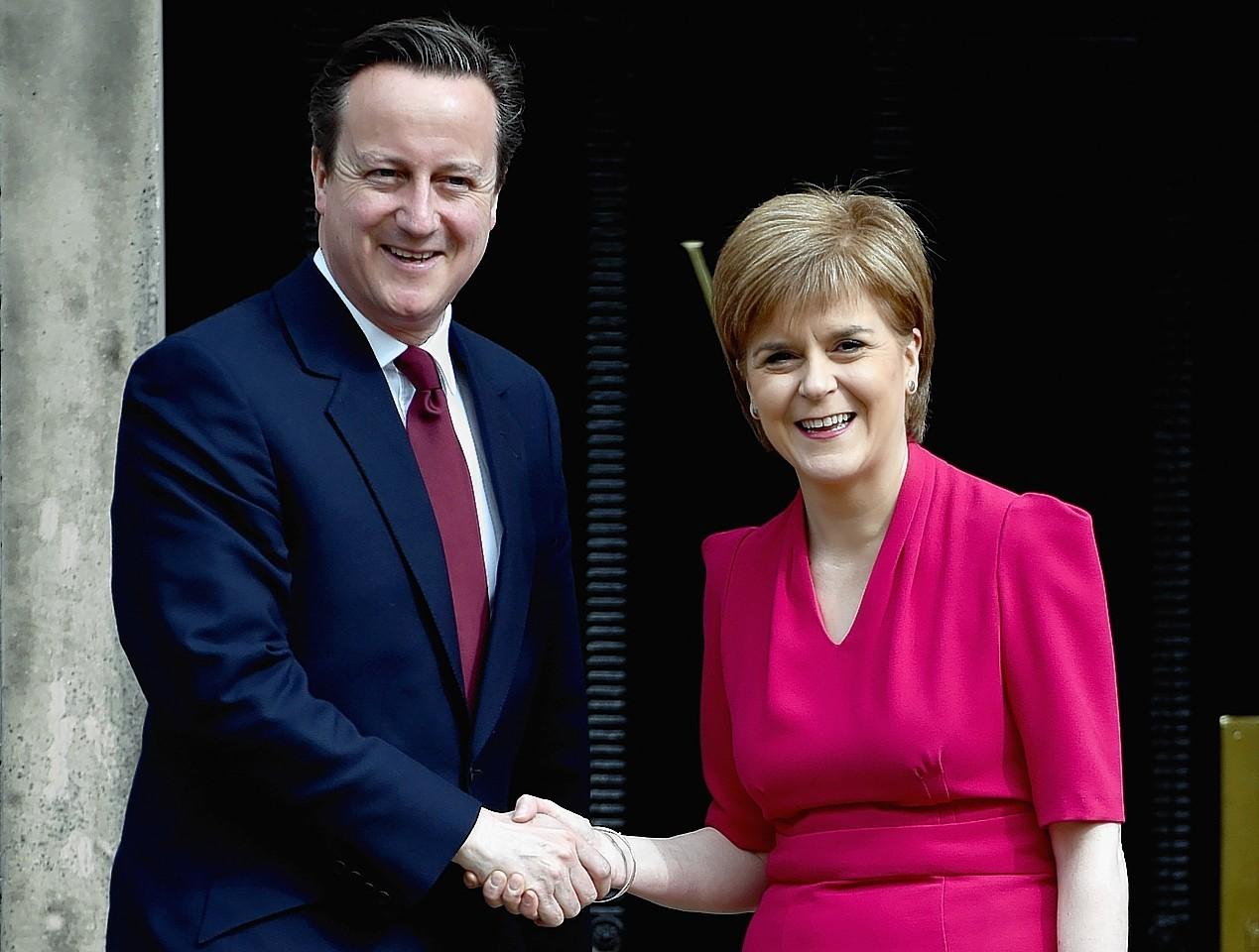 David Cameron meets with Nicola Sturgeon at Bute House
