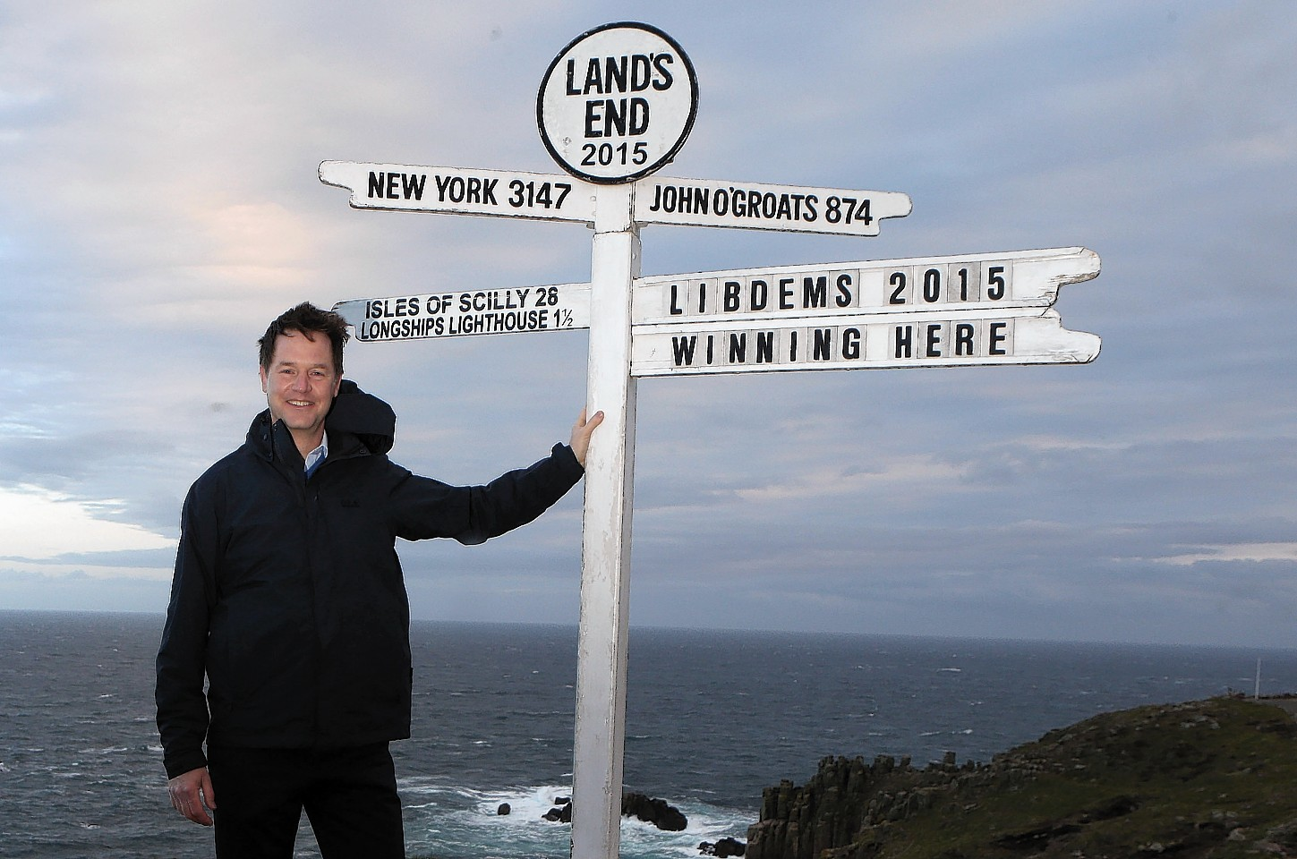 Liberal Democrats Party leader Nick Clegg at Land's End in Cornwall, as he embarks on a Land's End to John O'Groats campaign marathon in a last ditch effort to save as many Liberal Democrat seats as possible at the General Election