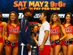 Floyd Mayweather Jr. and Manny Pacquiao face off during the official weigh-in