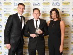 Declan McManus joins Stephen McManus and Catriona Shearer as he collects the PFA Scotland League One Player of the Year Award